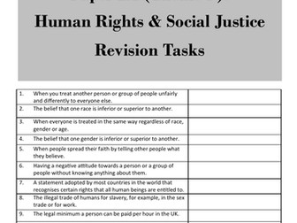 Human Rights & Social J (Theme F: AQA GCSE Religious Studies) - student revision activities booklet