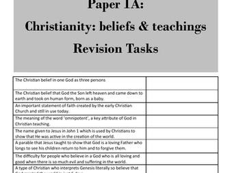 Christianity: Beliefs (Paper 1, AQA GCSE Religious Studies) - student revision activities booklet