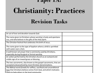 Christianity: Practices (Paper 1, AQA GCSE Religious Studies) - student revision activities booklet
