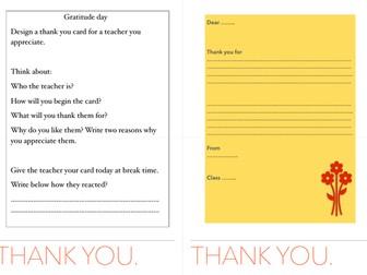 Gratitude card for teacher appreciation/ EAL/LITERACY/PSHE/FORM CLASS/ KEY STAGE 2 ENGLISH