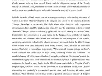 A* English Coursework: Dracula & Wide Sargasso Sea