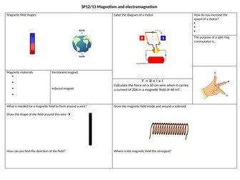 SP12 and SP13 Mgnetism and Electromagnetism revision mat