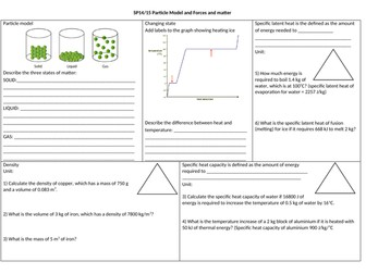 SP14 & SP15 Particles & Forces and matter revision mat