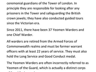 The Yeomen Warders - Tower of London Handout