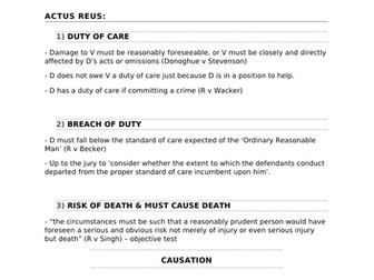 A-Level Law Gross Negligence Manslaughter Structure Template