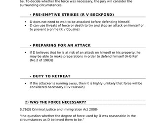 A-Level Law Self-Defence Structure Template