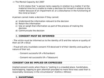 A-Level Law Consent Structure Template