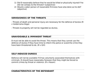 A-Level Law Duress by Threats/Duress by Circumstances Structure Template