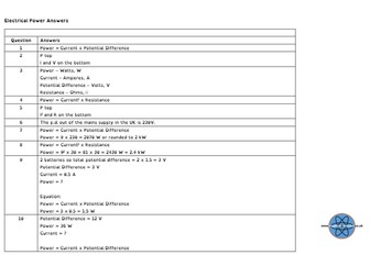 GCSE Physics and/or Combined Science Differentiated Equation Worksheet - Electrical Power (Current)