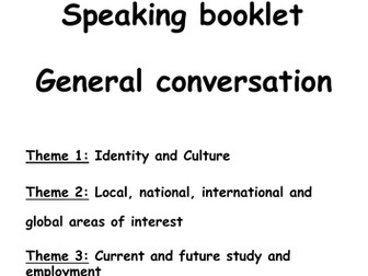 FRENCH GCSE SPEAKING GENERAL CONVERSATION BOOKLET