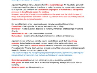 OCR A level Religious Studies 2019 - Religion and Ethics - Natural Law