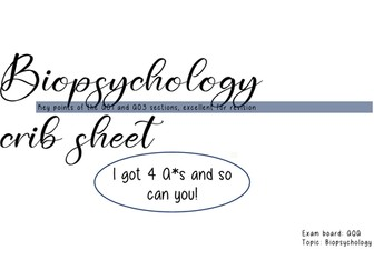 Biopsychology crib sheet
