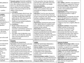 A2 Research methods crib sheet