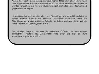 Einwanderung - translation into English.