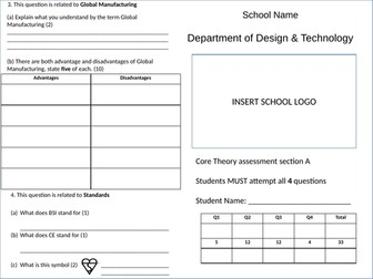 WJEC Design Technology Mock Paper Core Knowledge and Understanding Section A