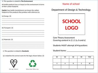 Mock Exam Paper WJEC Design Technology Core Theory 2.1.1 (a,b and e)