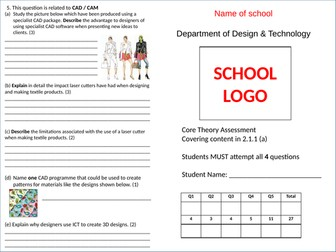 Mock Exam Paper WJEC Design Technology Core Theory 2.1.1 (section a)