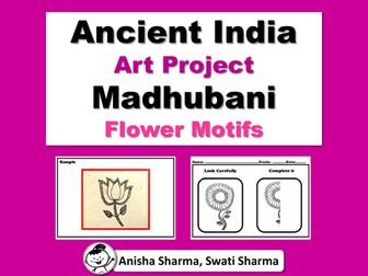 Ancient India Art Project, Madhubani Wall/Folk Art, Flower Motifs