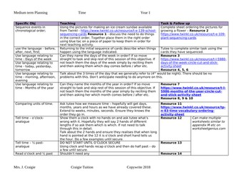 Time year 1 objectives