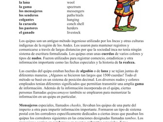 Quipus y Chasquis Lectura y Cultura: Ancient Incan Spanish Cultural Reading