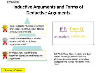 Logic - Inductive Arguments and Forms of Deductive Arguments