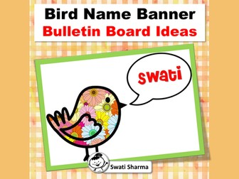 Bird Name Banner, Spring, Back to School, Bulletin Board Clipart
