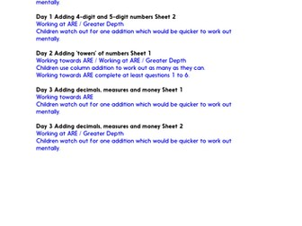 Column add, whole/decimal nos & money - Practice Worksheets & Answers - Year 5
