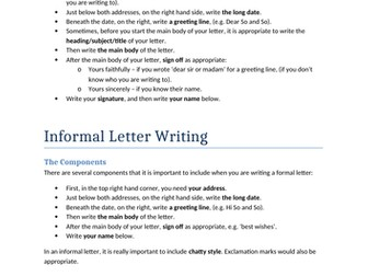 GCSE English Language Formal & Informal Letter Writing Handout by