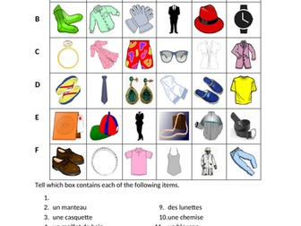 Vêtements (Clothing in French) Find it Worksheet