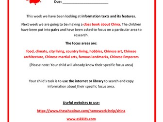 China - Homework Task