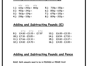 Money - Adding & Subtracting Pounds & Pence
