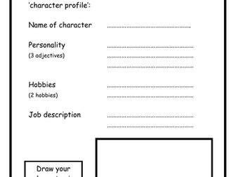 Mr Men - character profile worksheets