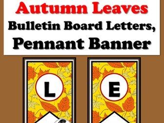 Let Us Fall Into Learning, Autumn Leaves, Bulletin Board Letters, Pennant Banner