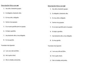 Short translation worksheet to practise descriptions with ser