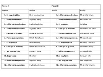 Translation race / quiz worksheet on describing personality in Spanish with ser