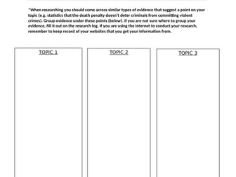 Essay Research Template