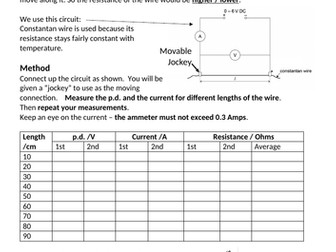 """Scaffolded worksheet for """"resistance of a wire vs length"""" practical"""
