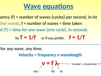 Intro to the gcse wave equation