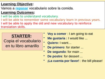 SPANISH GCSE FOOD & EATING OUT