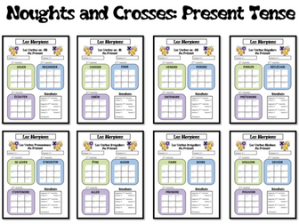 Morpions/ Noughts and Crosses- Grammar/Conjugation Game- Present tense- French KS3 to KS5