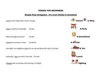 Tenses mat for beginners with vocabulary  using the irregular past