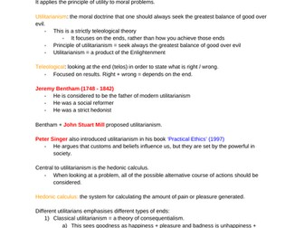 REP ethics: utilitarianism notes (OCR A-level)
