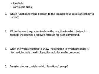 NEW AQA GCSE (2016) Chemistry  - Alcohols, carboxylic acids & esters