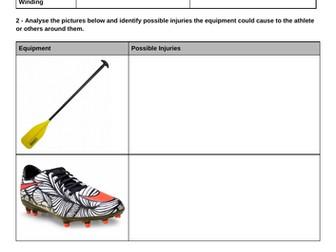 Cambridge iGCSE PE - Injuries worksheet