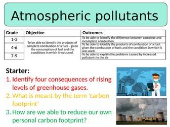 NEW AQA GCSE (2016) Chemistry  - Atmospheric Pollutants