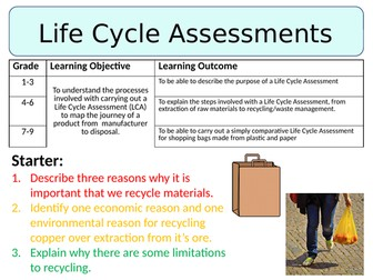 NEW AQA GCSE (2016)  Chemistry - Life Cycle Assessments