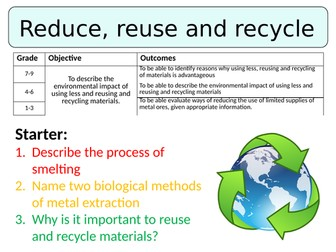 NEW AQA GCSE (2016) Chemistry - Reduce, reuse, recycle