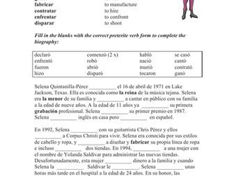Selena Quintanilla Biography Worksheet for Reviewing Preterite Verbs (SUB PLAN)