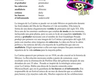 La Catrina Lectura y Cultura: Spanish Reading on La Catrina / Day of the Dead