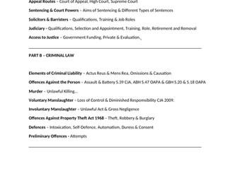 Law - Paper One Checklist